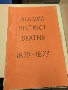 Algoma District Deaths 1870-1873